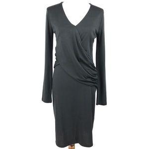 Sundance Black Crossover Ruched Long Sleeve Dress